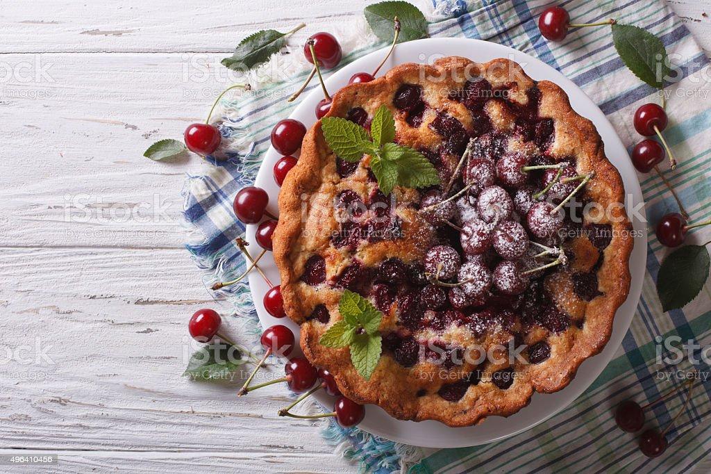 homemade cherry cake horizontal top view stock photo
