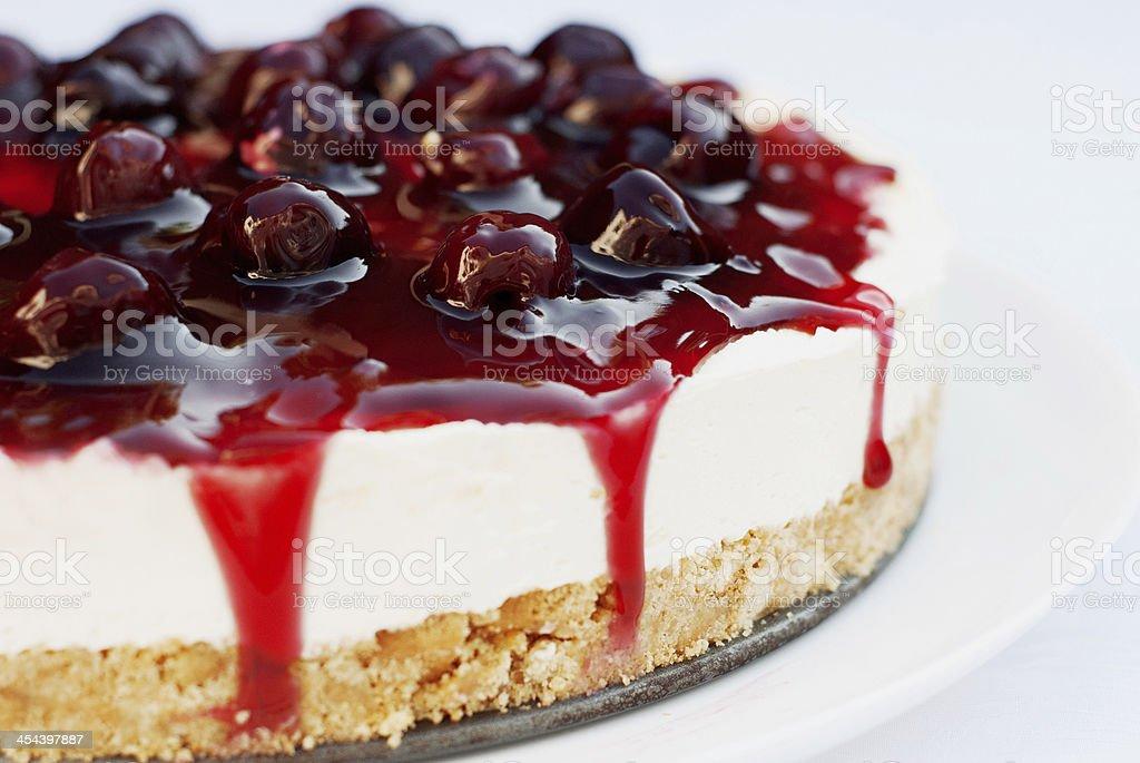 Homemade Cherry Cheesecake stock photo
