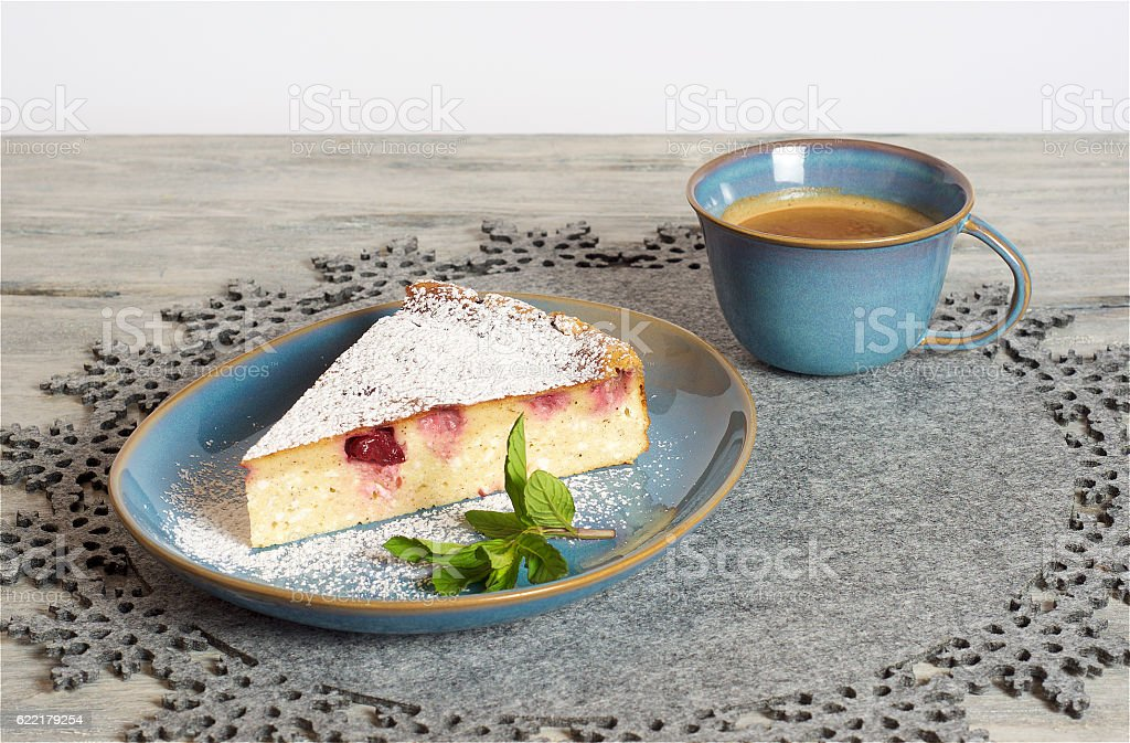 Homemade cherry cheesecake stock photo