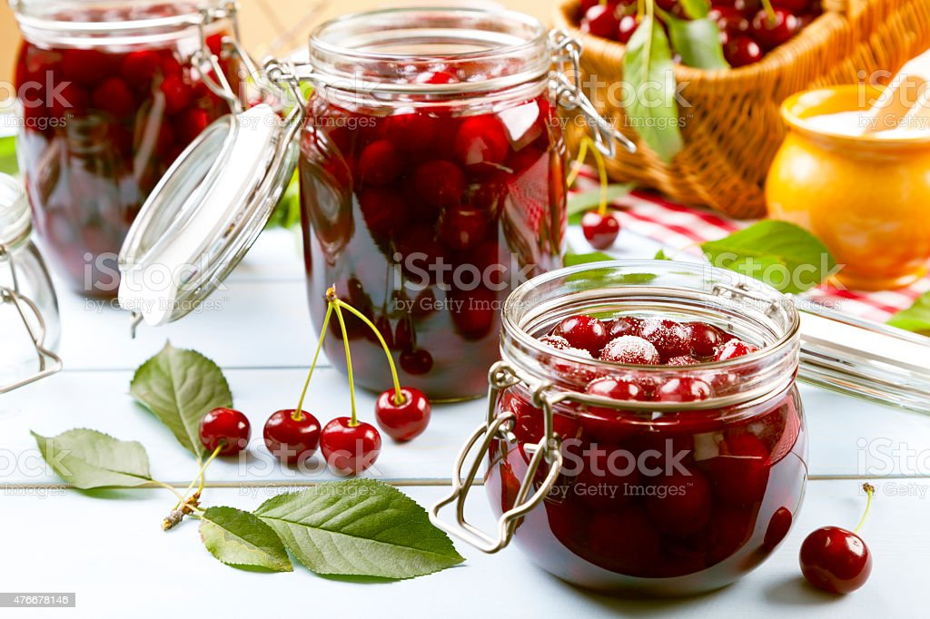 Homemade cherry compote stock photo