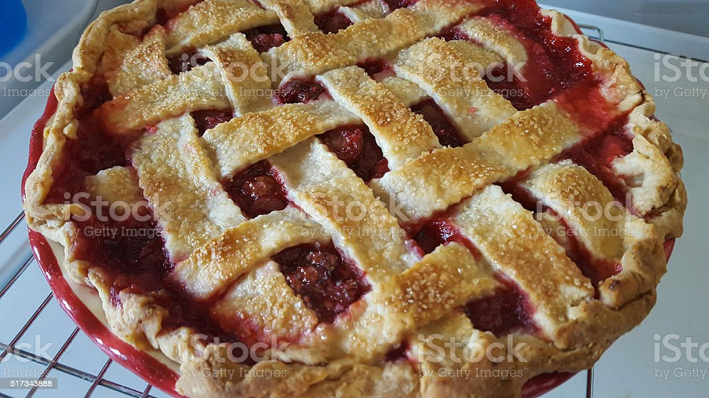 Homemade Cherry Pie from Iowa stock photo