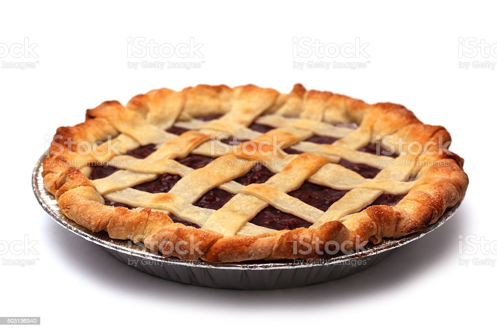 Homemade Cherry Pie in a Foil Baking Tin stock photo