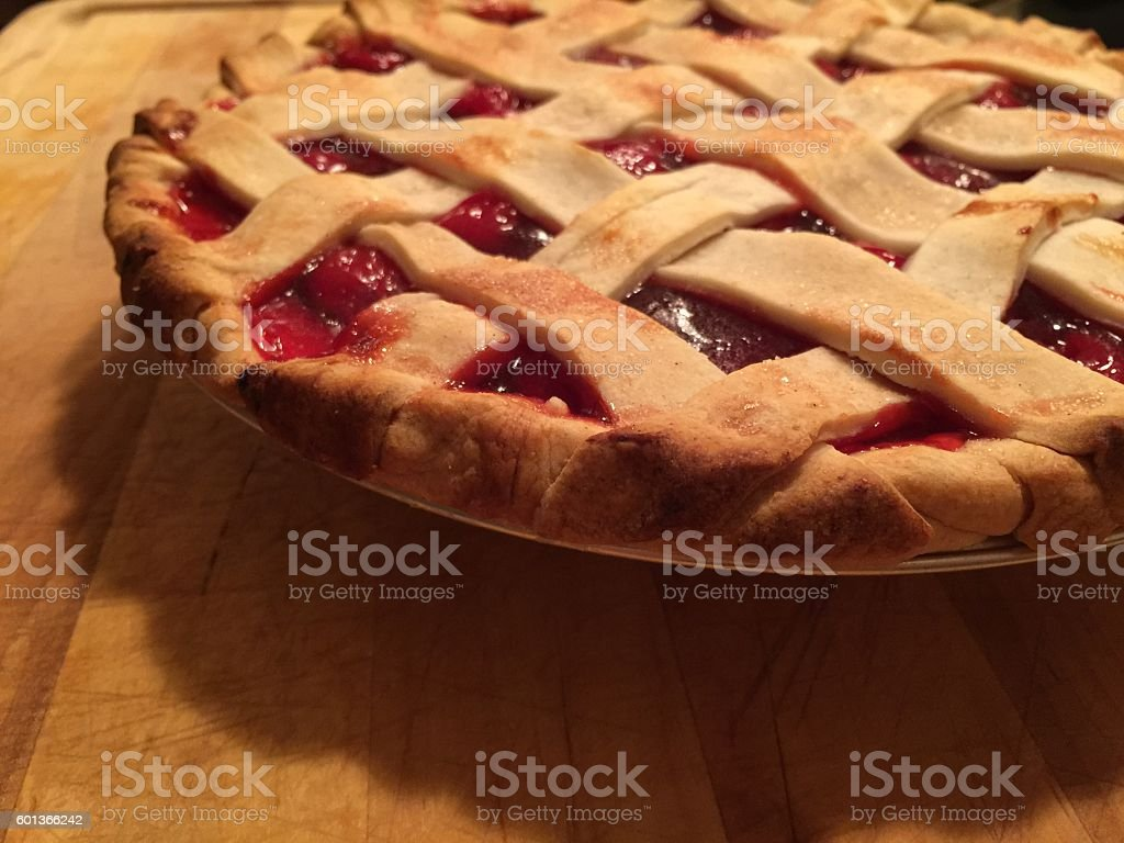 Homemade Cherry Pie Lattice Crust stock photo