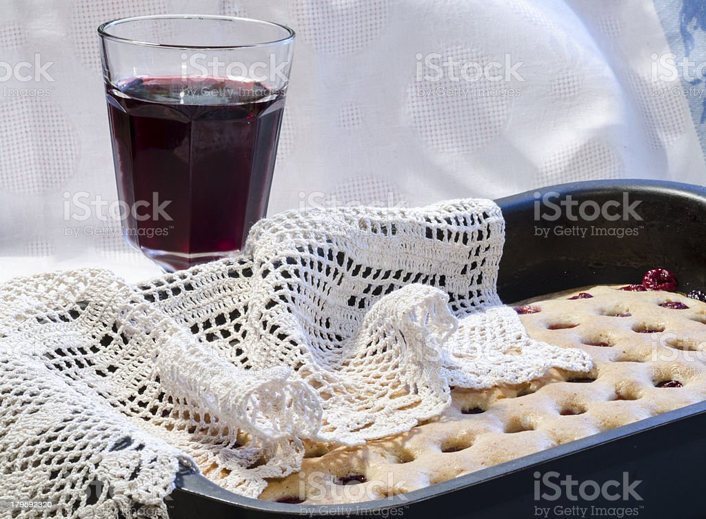Homemade cherry pie with blurred background royalty-free stock photo