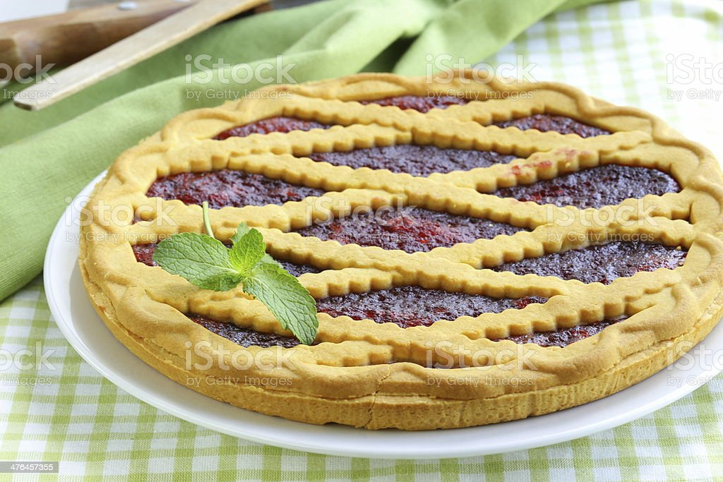 homemade cherry tart of shortcake dough with jam royalty-free stock photo
