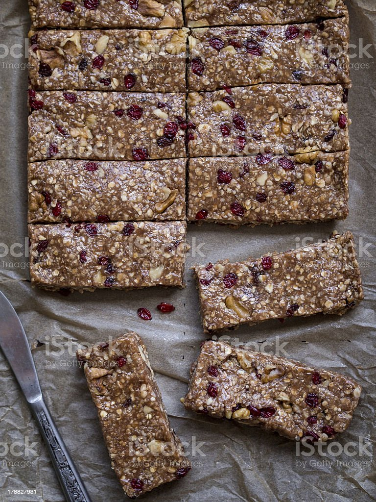 Homemade chewy granola bars, view from above stock photo