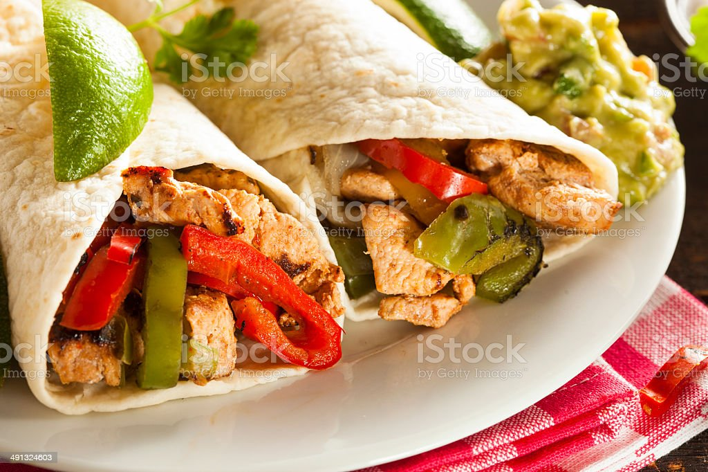 Homemade Chicken Fajitas with Vegetables stock photo