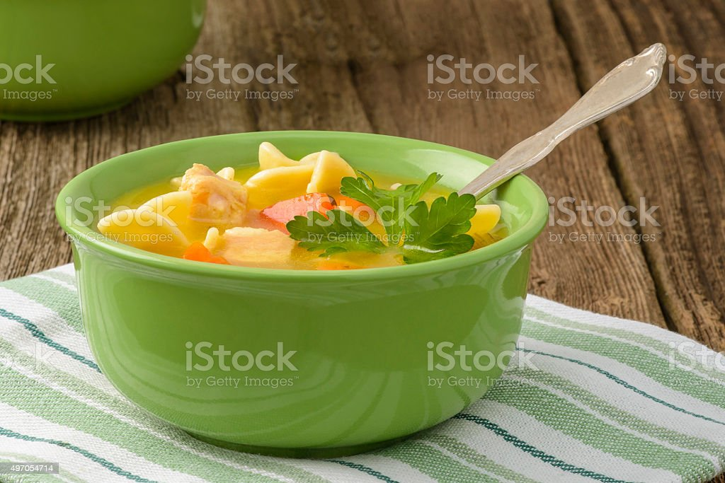 Homemade Chicken Noodle Soup stock photo