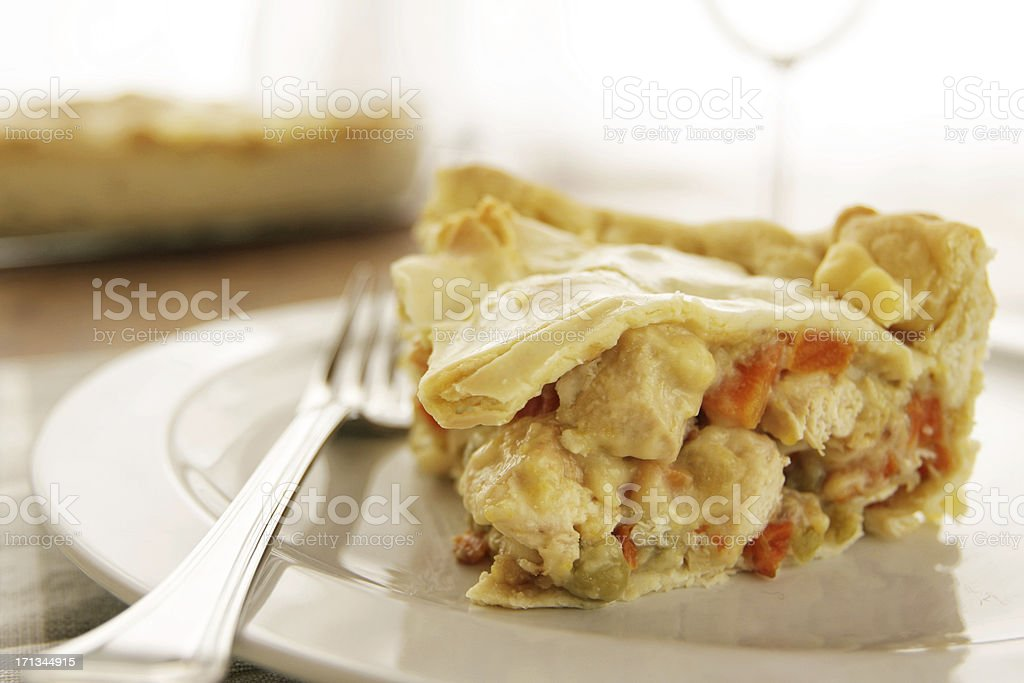 Homemade chicken pot pie filled with chicken and vegetables stock photo