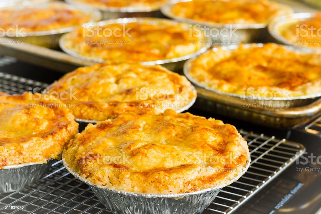 Homemade Chicken Pot Pies Cooling On A Rack stock photo