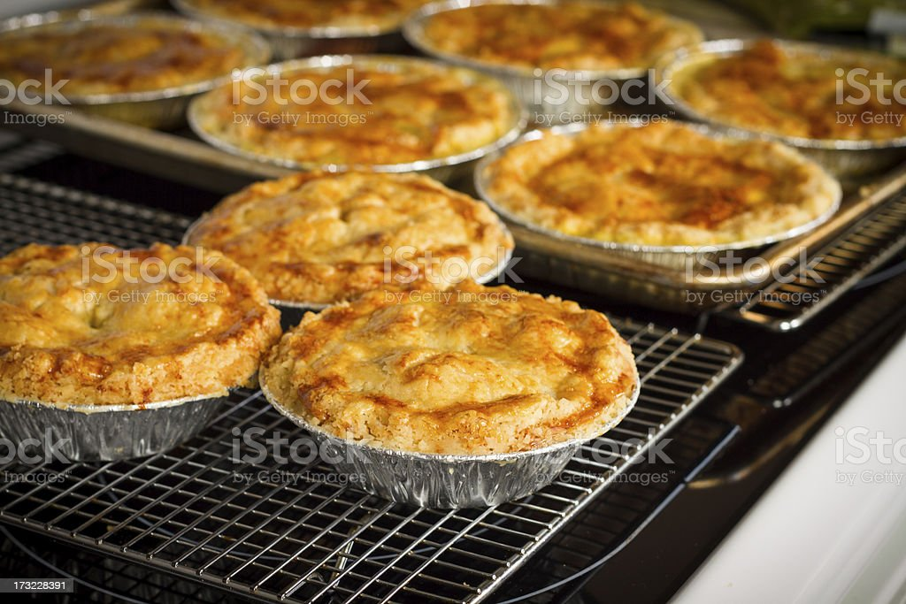 Homemade Chicken Pot Pies Cooling On Rack stock photo