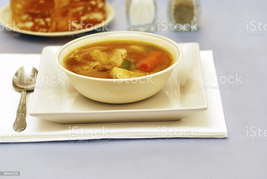 Homemade chicken soup in a bowl royalty-free stock photo