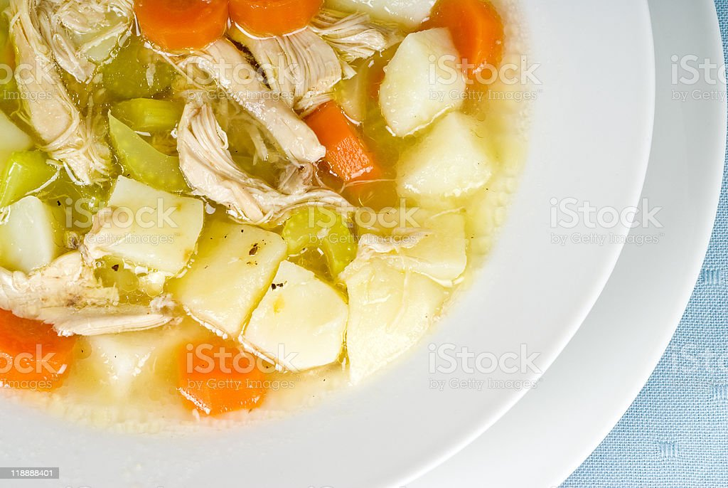 Homemade Chicken Soup with Vegetables stock photo