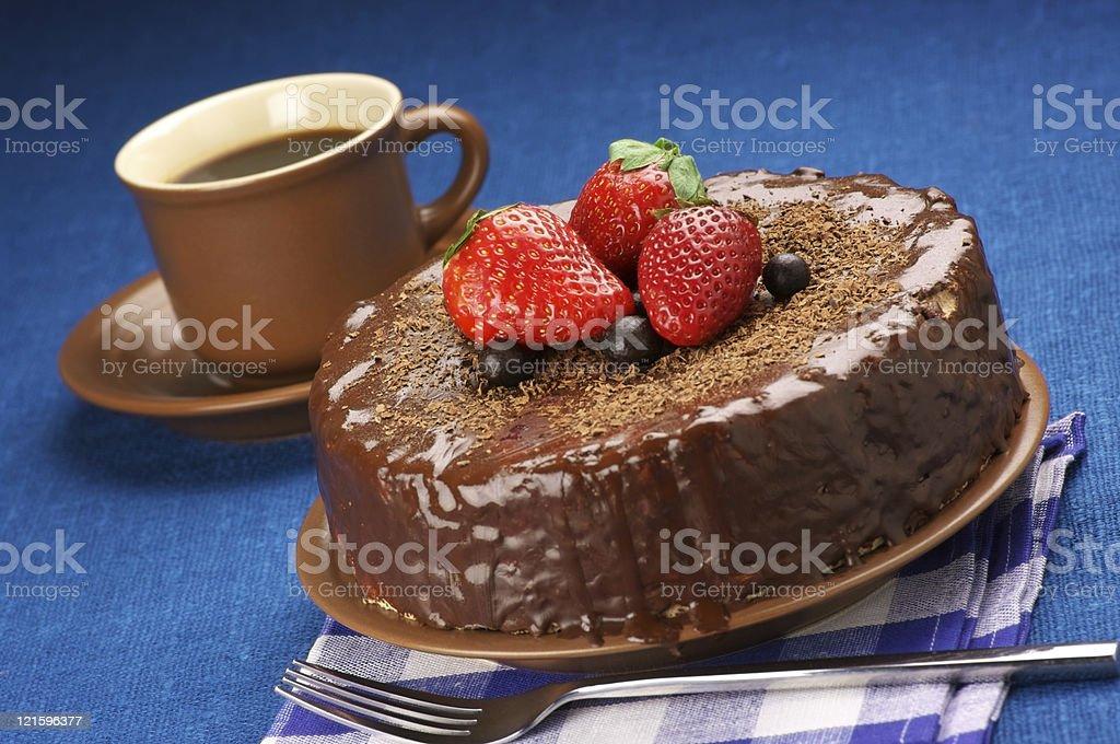 Homemade chocolate cake and coffee stock photo