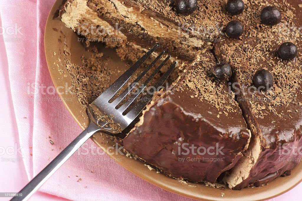 Homemade chocolate cake close-up stock photo