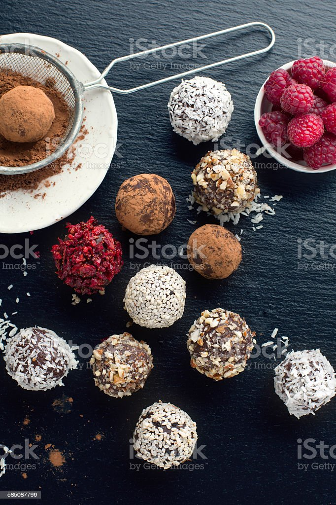 Homemade chocolate candy balls stock photo