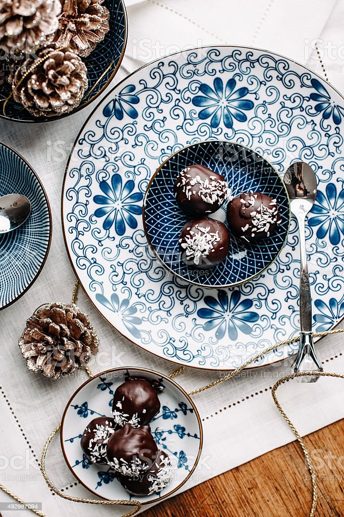 Homemade chocolate candy overhead table top stock photo