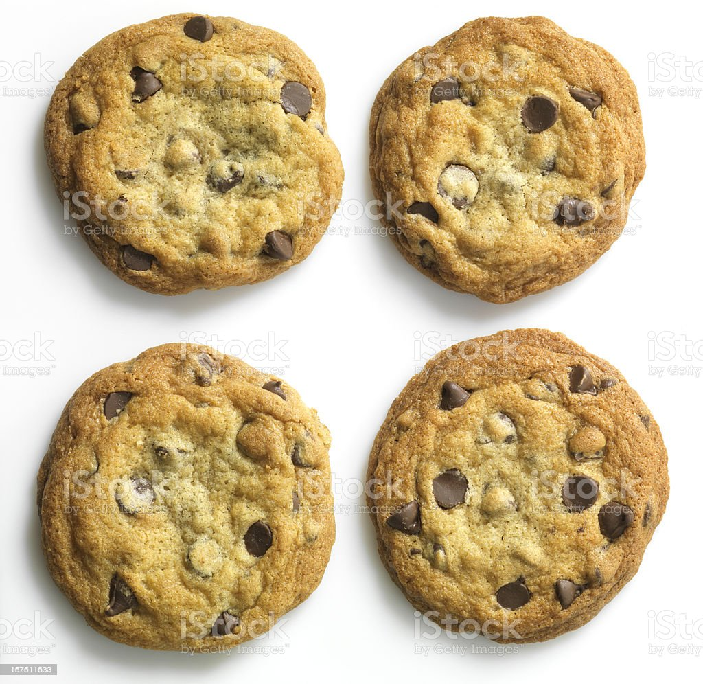 Homemade Chocolate Chip Cookies on white, overhead stock photo