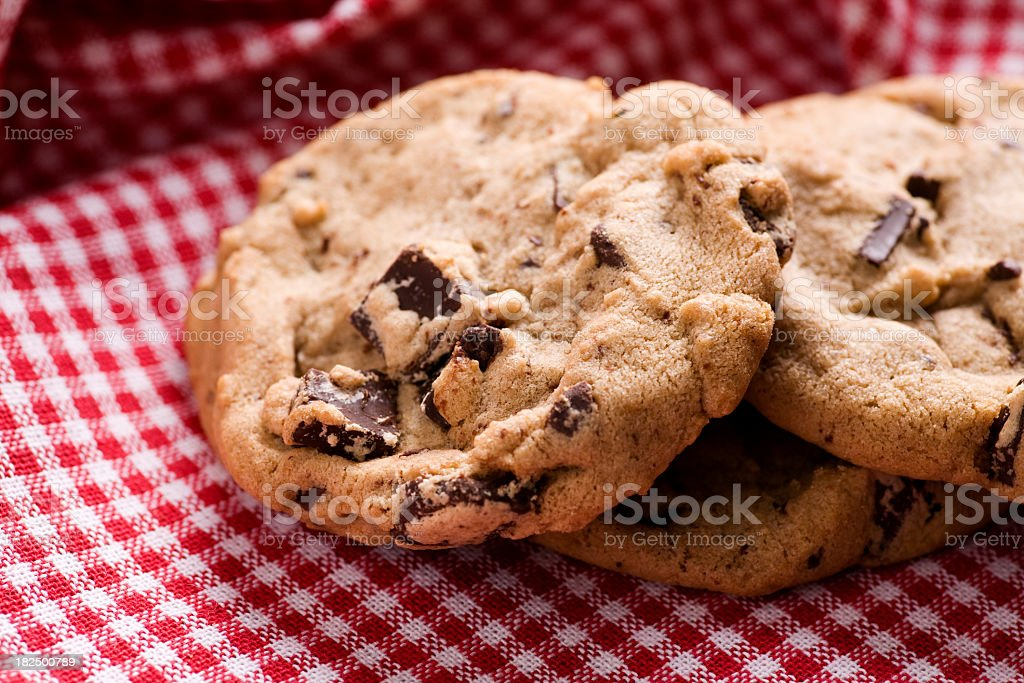 Homemade chocolate chip cookies stock photo
