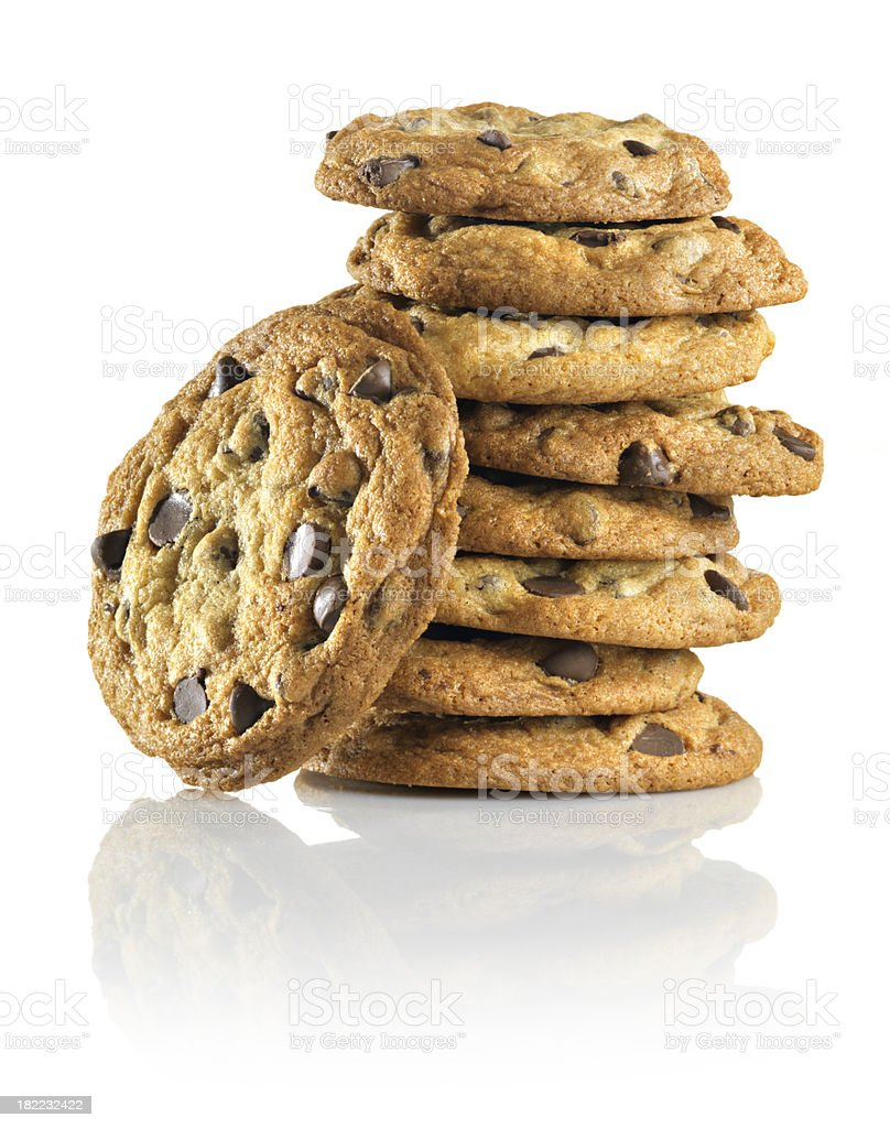 Homemade Chocolate Chip Cookies, stack, reflection stock photo