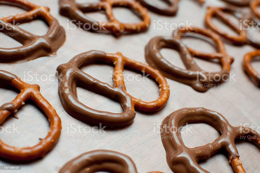 Homemade Chocolate Covered Pretzels royalty-free stock photo