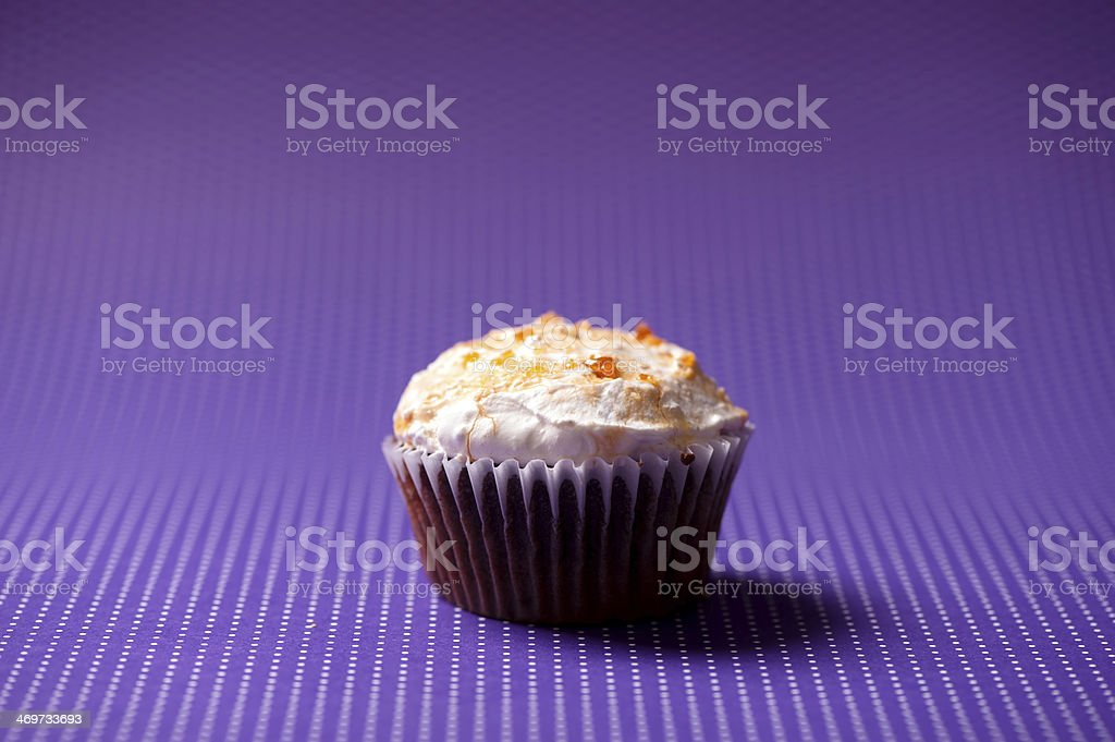 homemade chocolate cupcake with vanilla cream topping isolated o royalty-free stock photo