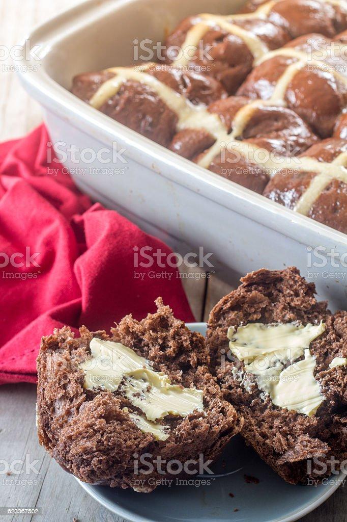 Homemade Chocolate Hot Cross Buns Vertical stock photo
