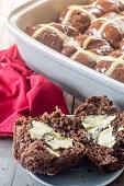 Homemade Chocolate Hot Cross Buns Vertical