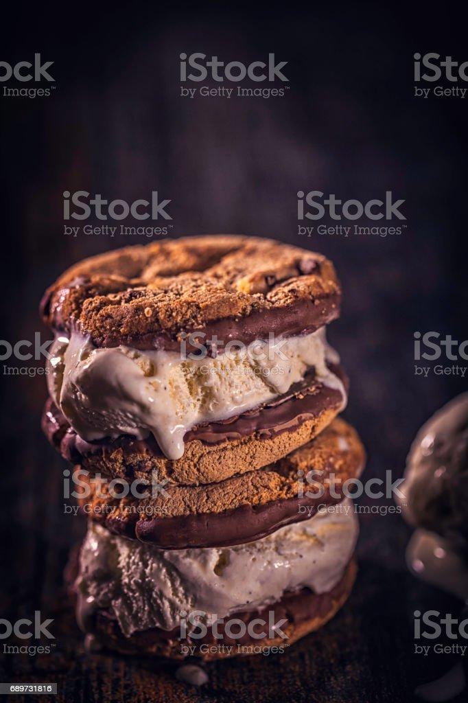 Homemade Chocolate Ice Cream Sandwich stock photo
