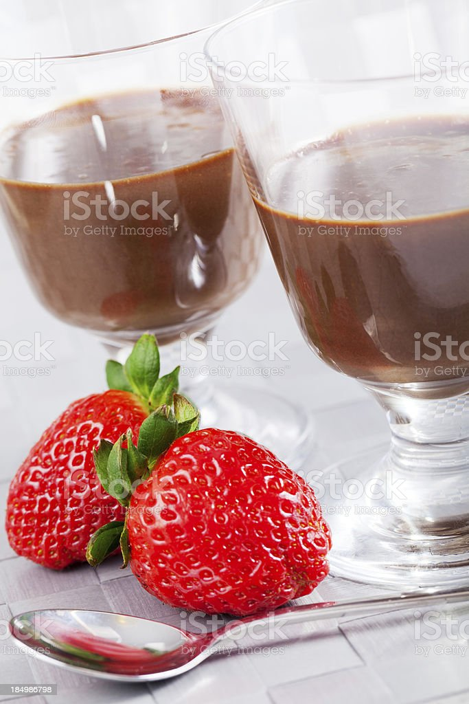 Homemade chocolate mousse with fruits royalty-free stock photo