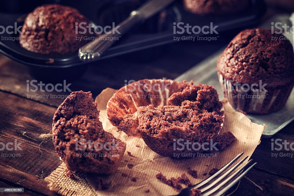 Homemade Chocolate Muffins stock photo
