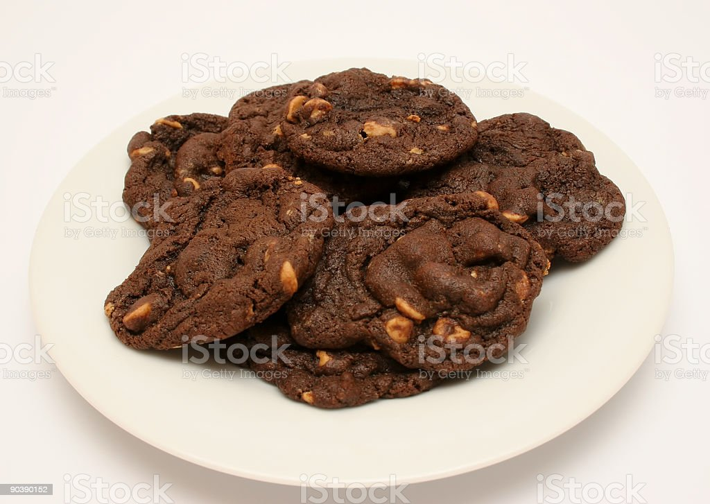 home-made chocolate peanut butter chip cookies stock photo