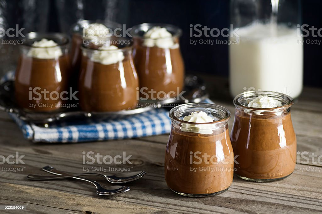 Homemade Chocolate Pudding with Whipped Cream stock photo