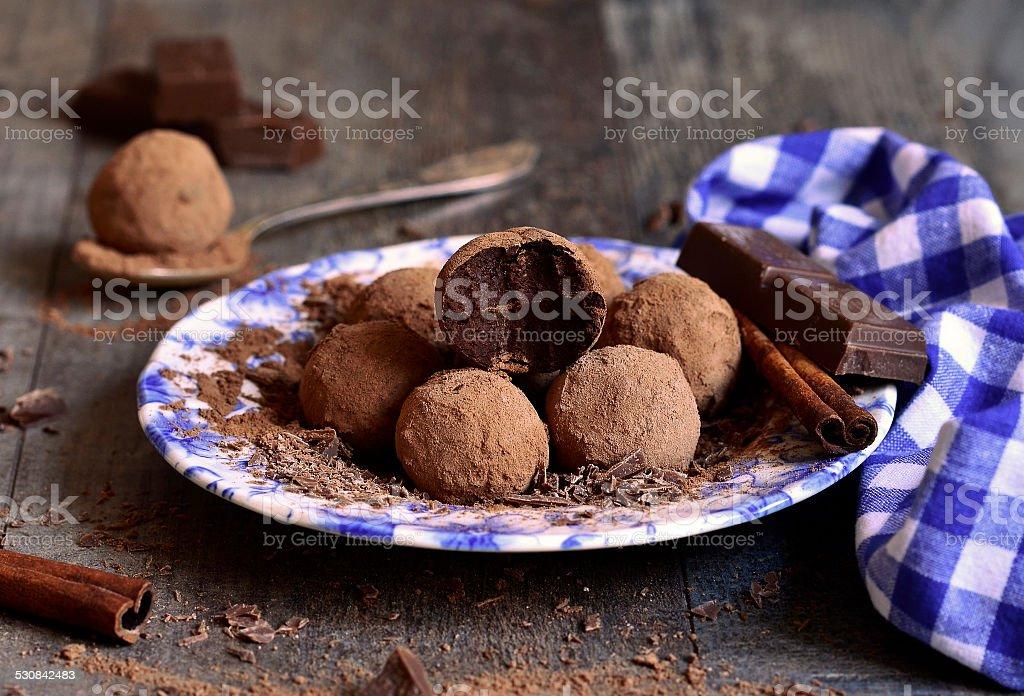 Homemade chocolate truffles. stock photo
