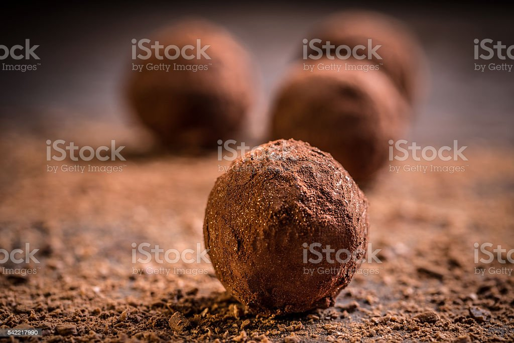 Homemade chocolate truffles stock photo