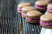 Homemade  Chocolate-Raspberry macarons