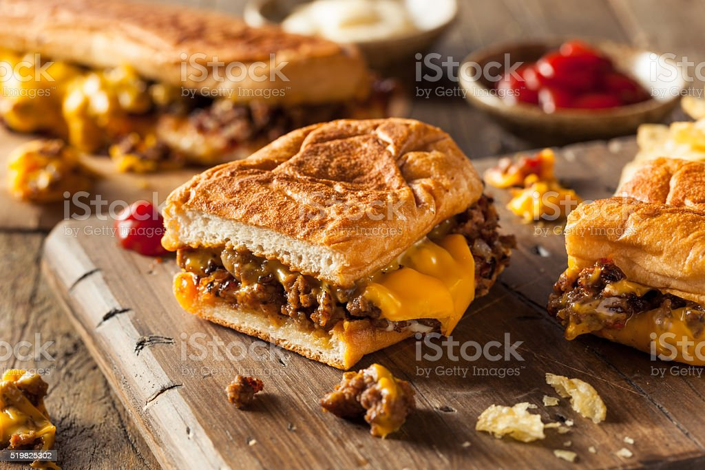 Homemade Chopped Cheese Sandwich stock photo