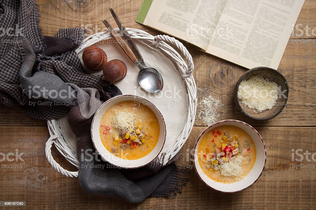 Homemade chowder (soup) with cheese stock photo