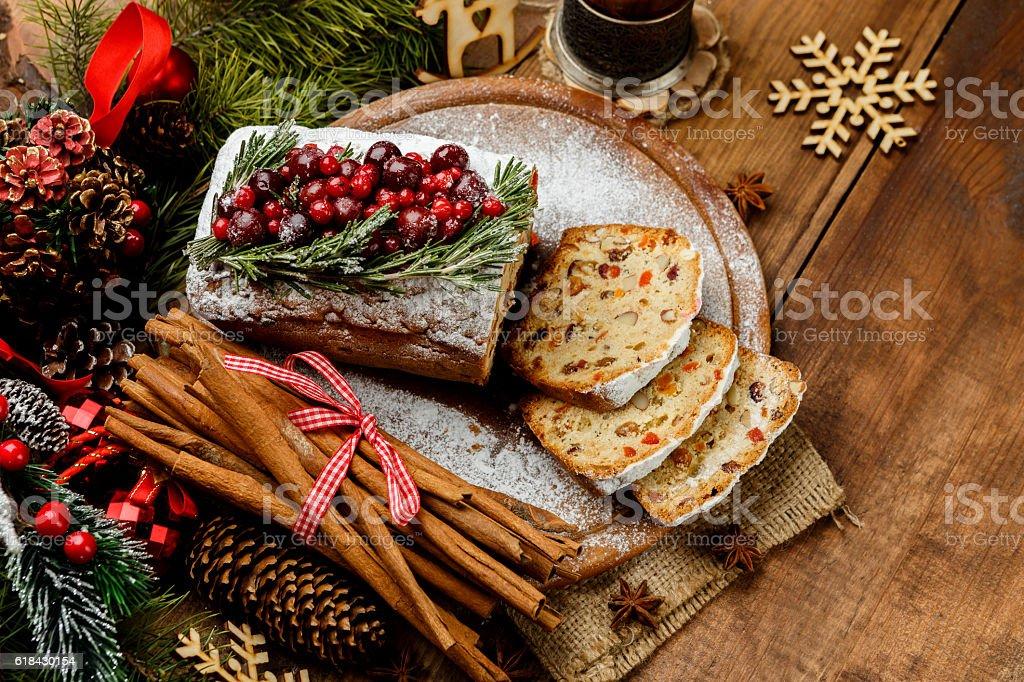 Homemade christmas cake with wild berries stock photo