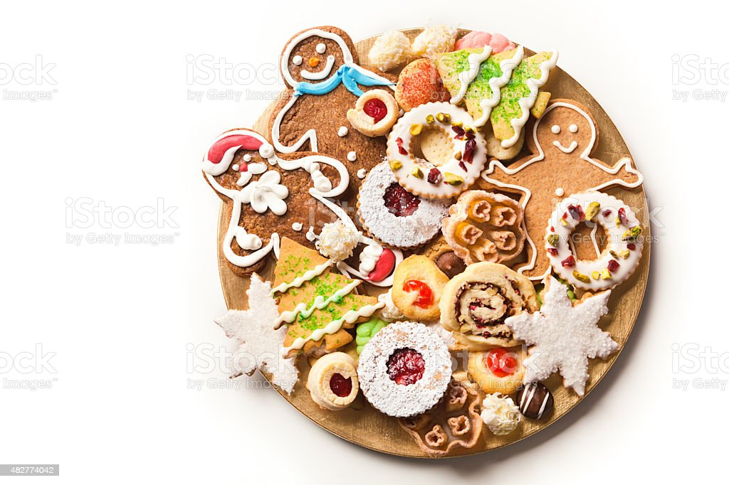 Homemade Christmas Cookie Holiday Plate Desserts stock photo