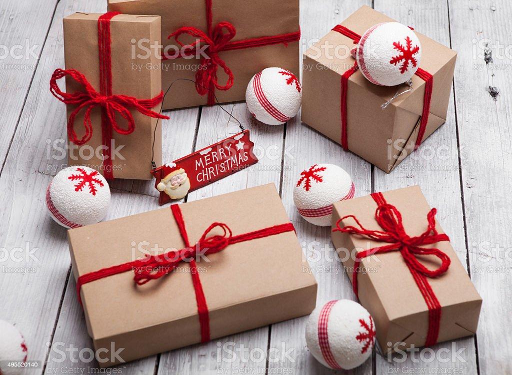 Homemade Christmas gift stock photo
