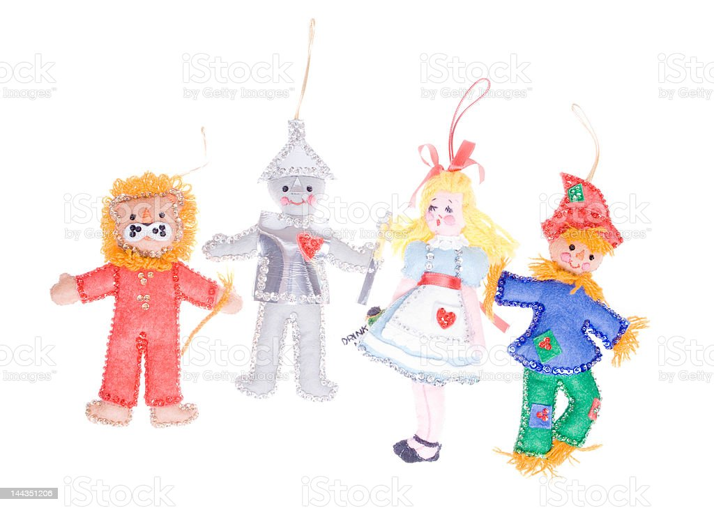 Homemade Christmas Ornament Felt Wizard of Oz Isolated White Background stock photo