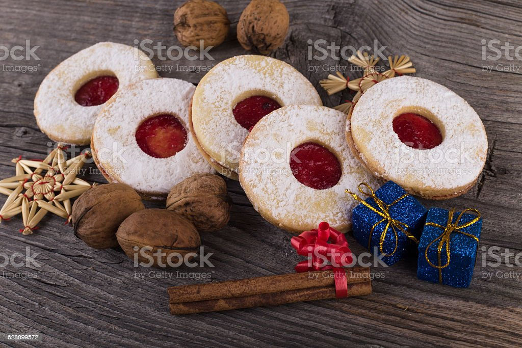 Homemade Christmas sweets with sugar powder and jam stock photo