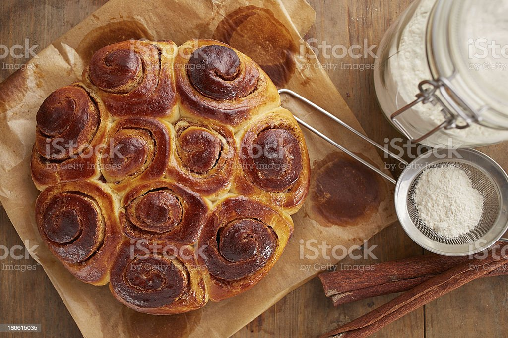 Homemade cinnamon roll cake stock photo