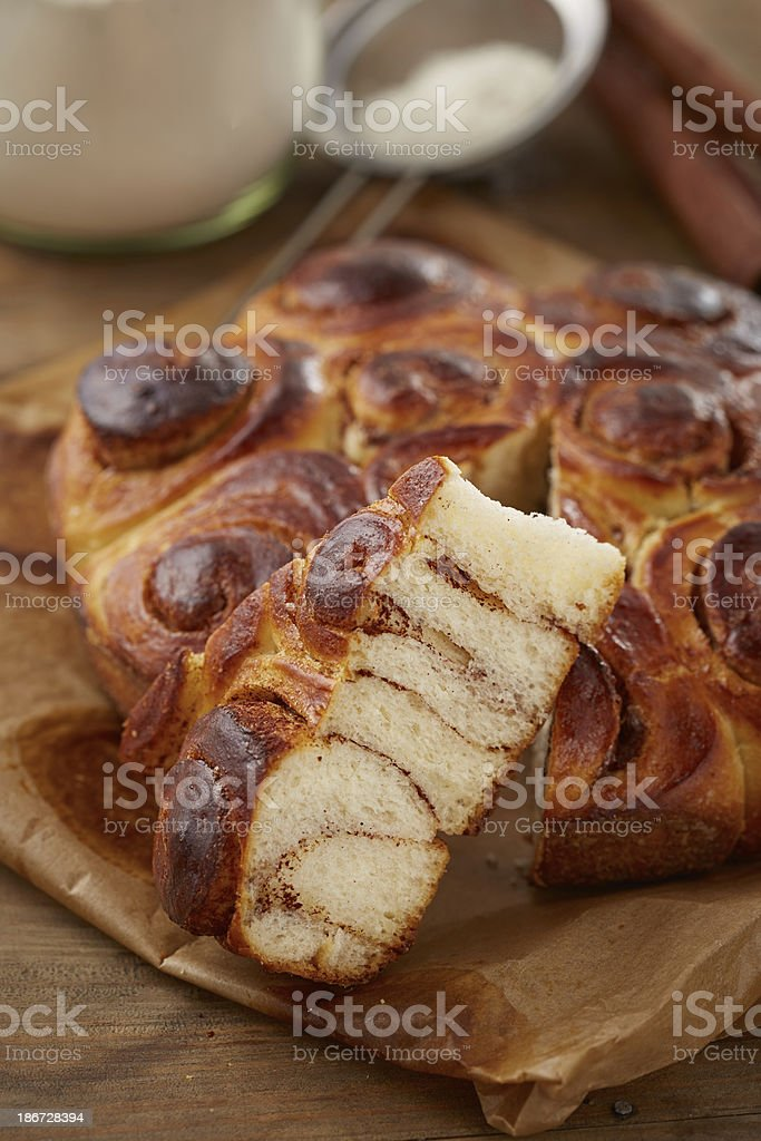 Homemade cinnamon roll cake royalty-free stock photo