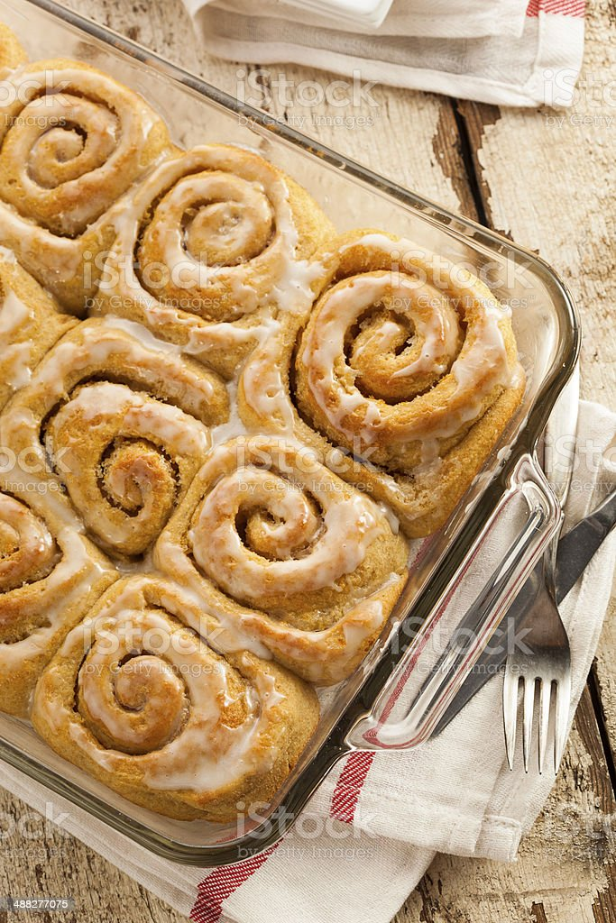 Homemade Cinnamon Roll Sticky Buns stock photo