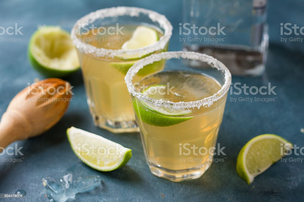 Homemade classic margarita stock photo