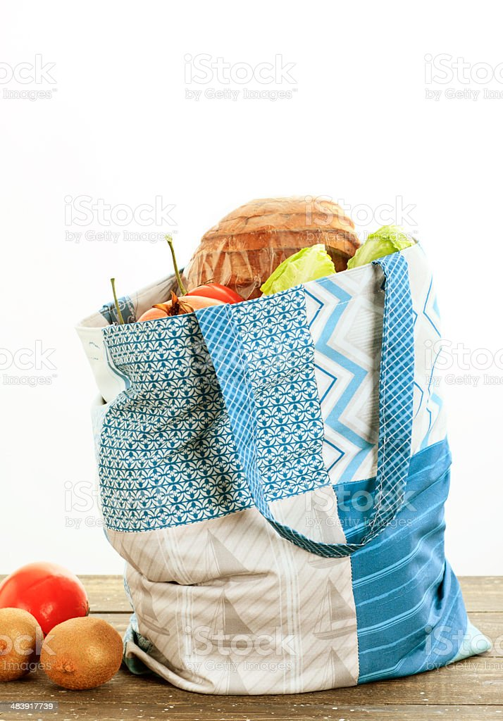 Homemade Cloth Tote Bag And Vegetables royalty-free stock photo