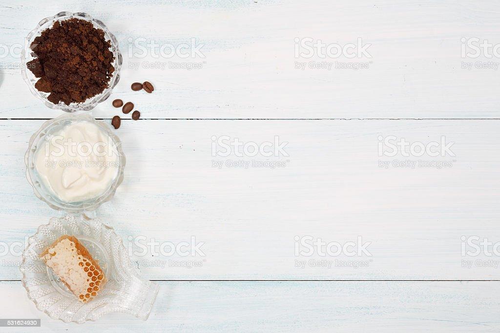 Homemade coffee scrub with, honey , yogurt stock photo