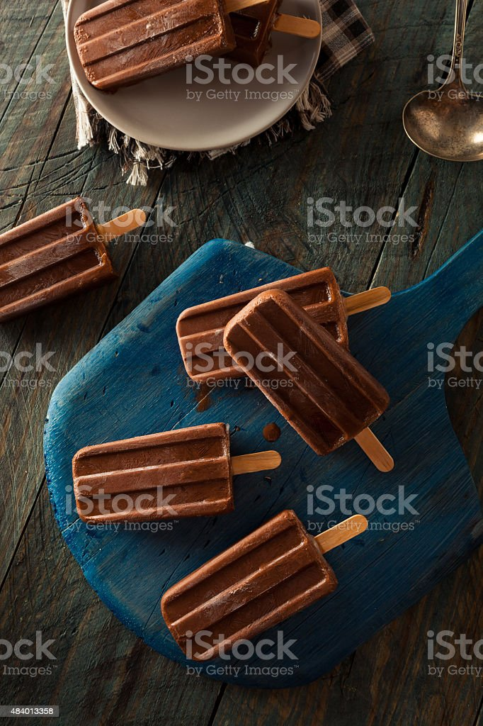 Homemade Cold Chocolate Fudge Popsicles stock photo